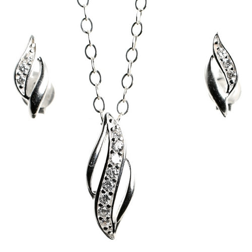 Dazzling Duo Sterling Silver Pendant and Earrings Set