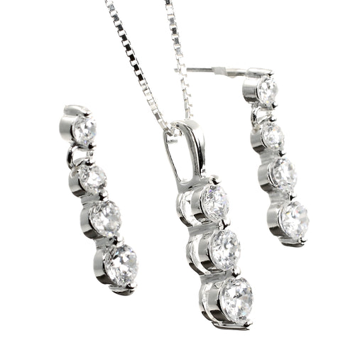 Trinity Moonstone Silver Earrings and Necklace Set