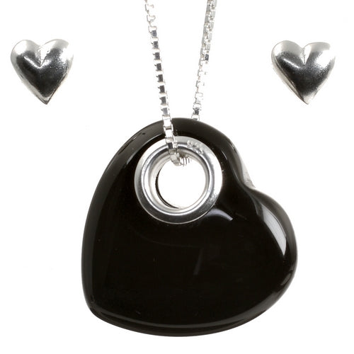 Onyx Heart Pendant and Stud Earrings Sterling Silver Set