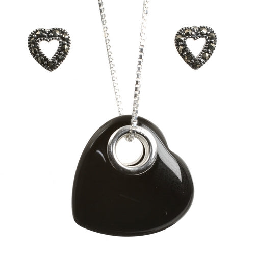 Sterling Silver Onyx Heart and Marcasite Stud Earrings Set