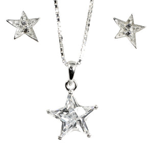 Lucky CZ Star and Earrings Sterling Silver Set