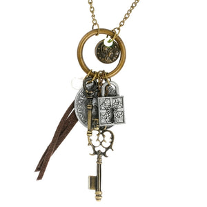 Steampunk Victorian Keys Coins and Lock Necklace