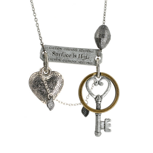 Steampunk Hot Stuff Cautious Key to your Heart Necklace