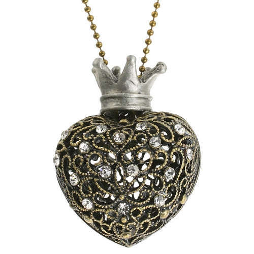 Steampunk Regal Puffed Heart Necklace