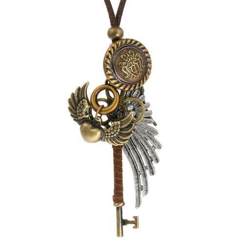 Steampunk Vintage Winged Key Necklace