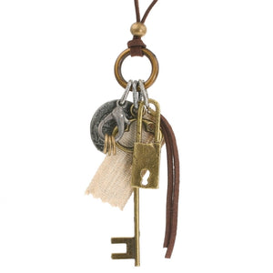 Steampunk Parisian Key Coin and Lock Necklace