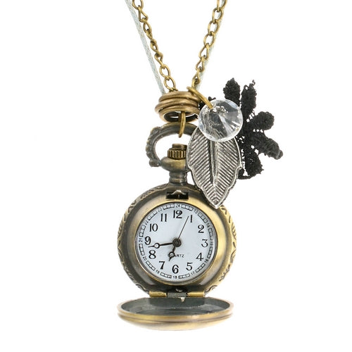 Steampunk Leaf Fossil Pocket Watch Pendant