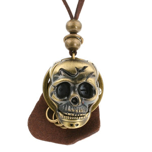 Steampunk 3D Skull Pocket Watch Necklace
