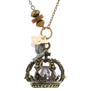 Steampunk Caged Black Pearl Pirate Necklace