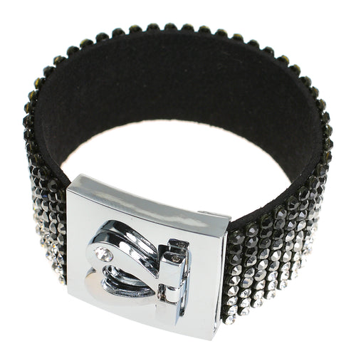 Love Heart Crystal CZ Black Silver Cuff