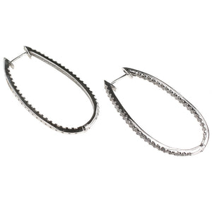 CZ Encrusted Silver Hoop Earrings