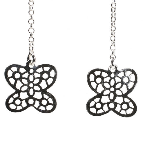 Sterling Silver Fretted Flower Dangling Earrings