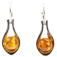 Load image into Gallery viewer, Amber Ball Sterling Silver Earrings