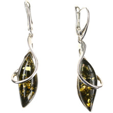 Load image into Gallery viewer, Green Amber Swirl Cage Earrings