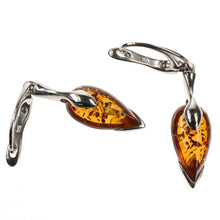 Load image into Gallery viewer, Pointed Silver Amber Earrings