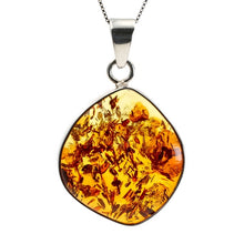 Load image into Gallery viewer, Amber Flowers Silver Pendant