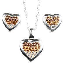 Load image into Gallery viewer, Silver CZ Heart Pendant Earrings Set
