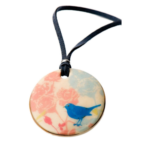 Blossom Tweet Bird Porcelain Necklace