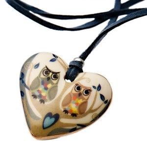 Owl Love Porcelain Necklace
