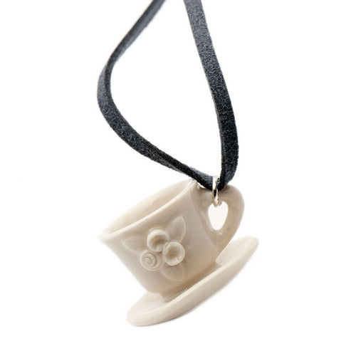 Afternoon Tea Cup Necklace Porcelain Necklace