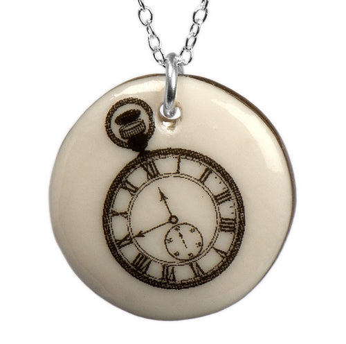 Pocket Watch Porcelain Pendant with Sterling Silver Chain