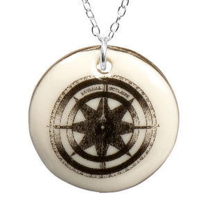 Compass Porcelain Pendant with Sterling Silver Chain