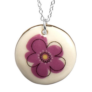 Flower Power Porcelain Pendant with Sterling Silver Chain