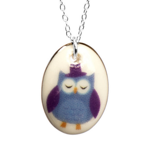 Owl Ditsy Porcelain Pendant with Sterling Silver Chain