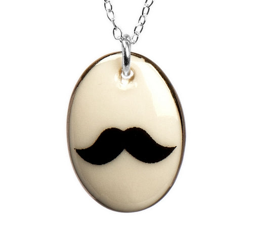 Moustache Porcelain Pendant with Sterling Silver Chain