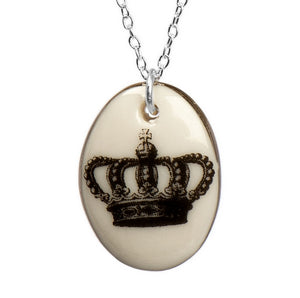 Crown Royalty Porcelain Pendant with Sterling Silver Chain