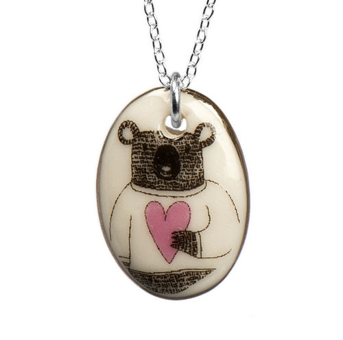 Bear Love Porcelain Pendant with Sterling Silver Chain