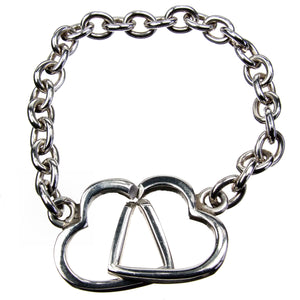 Double Heart Sterling Silver Bracelet
