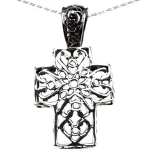 Load image into Gallery viewer, Sterling Silver Fretted Cross Pendant