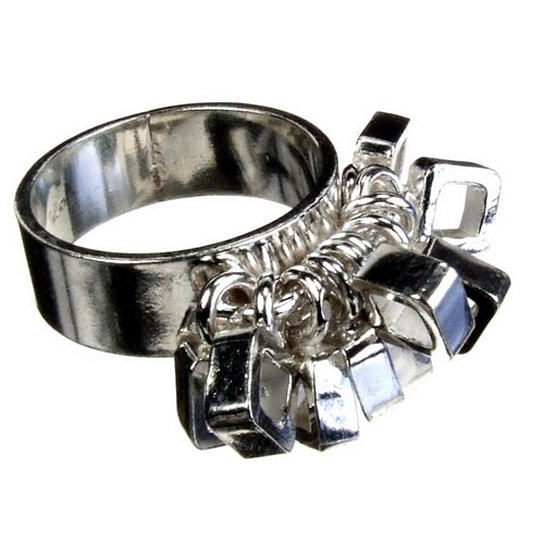 Square Silver Charm Ring