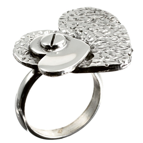 Handcrafted Heart Silver Ring
