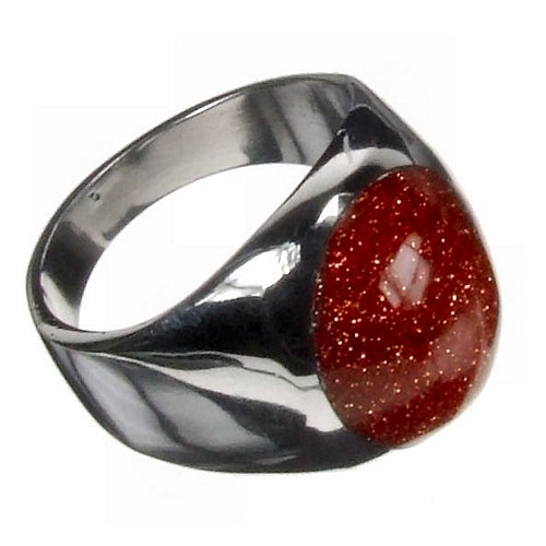Domed Goldstone Silver Ring