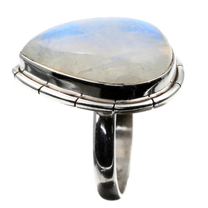 Silver Blue Fire Moonstone Teardrop Ring