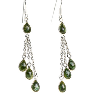 Serpentinite Droplet Silver Earrings