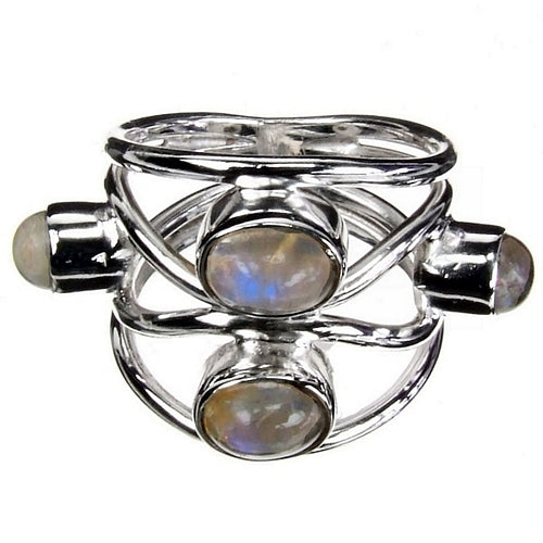 Moonstone Lattice Silver Ring
