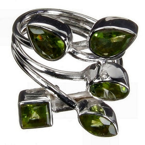 Peridot Flower Silver Ring