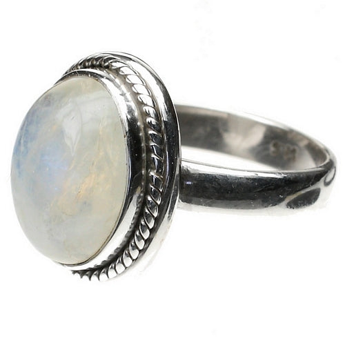 Stunning Rainbow Moonstone Large Cabochon Sterling Silver Ring
