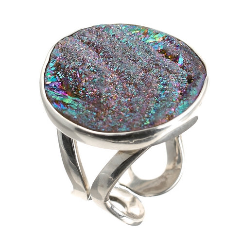 Titanium Coated Drusy Stone Silver Ring