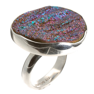 Drusy Stone Silver Ring