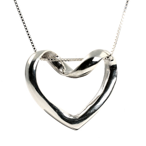Unusual Hanging Loveheart Sterling Silver Pendant Necklace and 18 inch Chain
