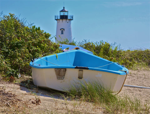 Edgartown Light and dinghy
