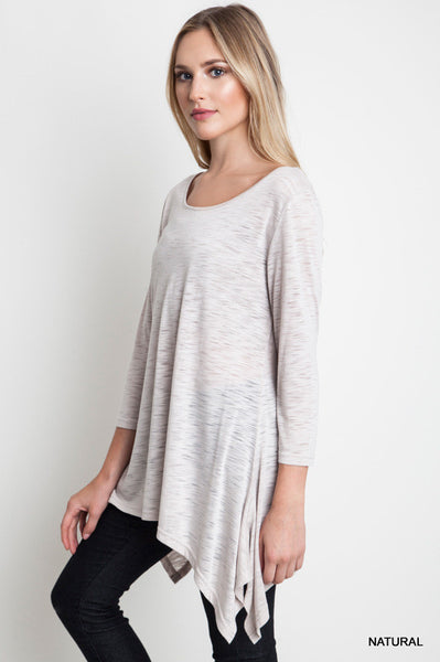 Nautral Crew Neck Knit Top