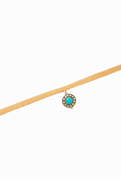 Tan Leather Choker w/ Circle Turquoise Charm