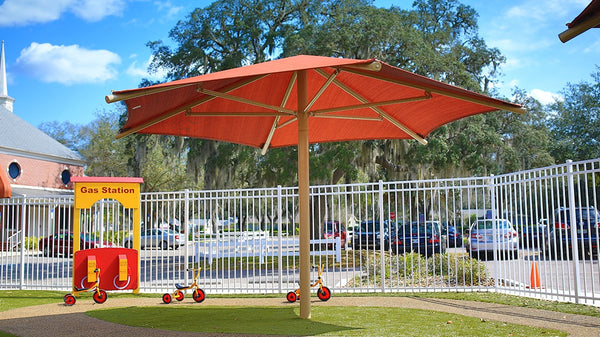 Hexagon Single Column Umbrella - The Sun Shade Company