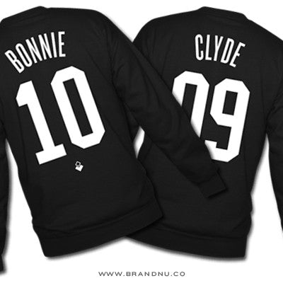 Bonnie & Clyde - Custom Couples Crewnecks - Black
