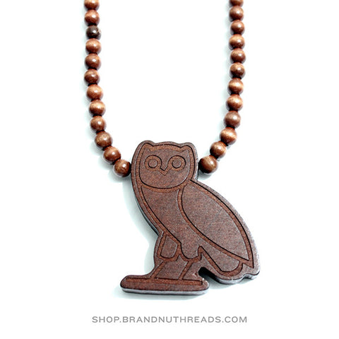 OVOXO Owl Wood Necklace - Brown